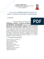 Relatorio Da II Conderencia de Direitos Das Pessoas Com Defici Ncia de Garanhuns