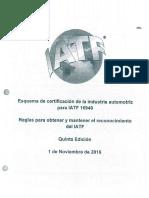 Reglas Para Obtener y Mantener El Reconocimiento de La IATF 5ta Edicion