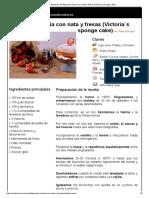 Hoja de impresión de Bizcocho victoria con nata y fresas (Victoria`s sponge cake)