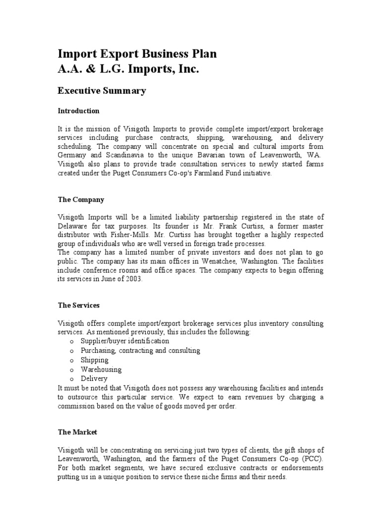 Import Export Business Plan   Sumple   Financial Accounting ...
