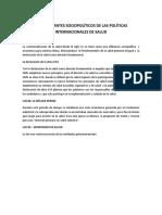Determinantes Sociopolíticos de Las Políticas Internacionales de Salud