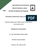 Rubí Acosta - LOS FACTORES SOCIALES E HISTÓRICOS QUE CONDICIONAN EL CONOCIMIENTO SOCIAL EN ARTES