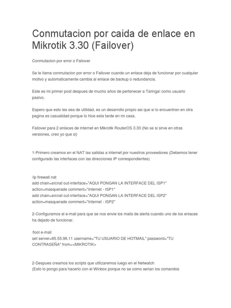 Conmutacion Por Caida de Enlace en Mikrotik | Dirección IP