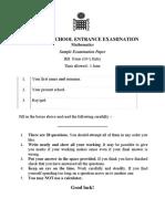 Emanuel School 10 Plus Sample Maths