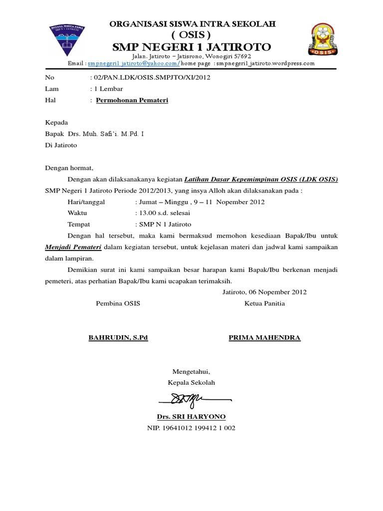 Contoh Surat Undangan Untuk Pemateri   Contoh Surat Lengkap Gratis