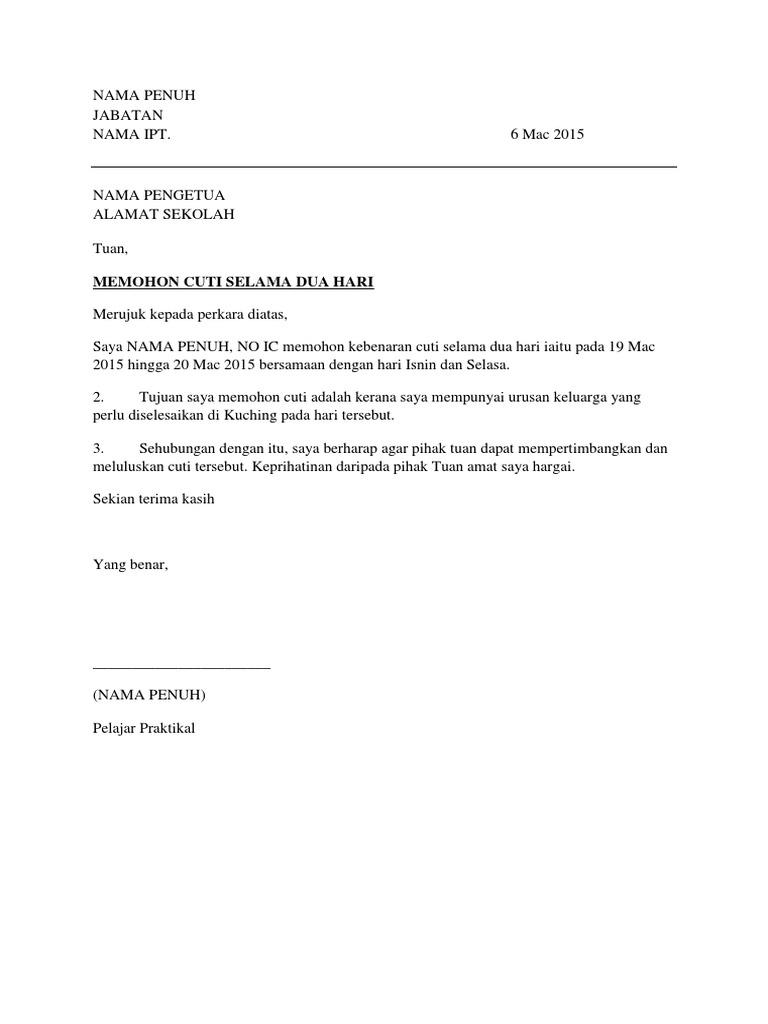 Contoh Surat Pemohonan Cuti Untuk Pelajar Praktikal