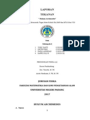 Contoh Laporan Praktikum Ipa Smp Kelas 8