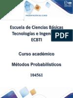 Presentación Del Curso Métodos Probabilísticos