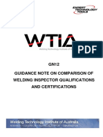 GN12 WTIA Comparison of Welding Inspector Qualifications and Certifications