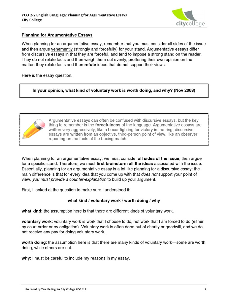 English Language Essay  Narrative Essay Example For High School also Sample High School Admission Essays Planning For Argumentative Essays  Volunteering  Essays Thesis Support Essay