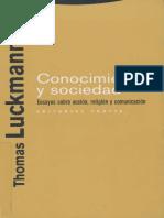 Conocimiento y Sociedad Thomas Luckmann