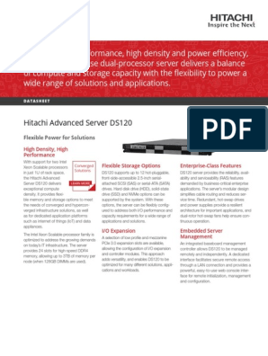 Hitachi Datasheet Advanced Server Ds120 | Unidad de estado sólido