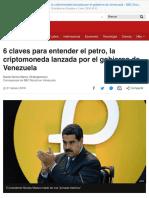 6 Claves Para Entender El Petro, La Criptomoneda Lanzada Por El Gobierno de Venezuela - Bbc Mundo