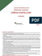 Programación didáctica de aula NUEVAS VOCES LENGUA CASTELLANA  4 PRIMARIA