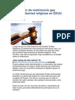 Aprobación de Matrimonio Gay Afectaría Libertad Religiosa en EEUU