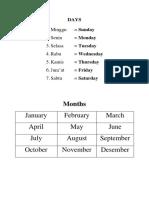 Days Months School