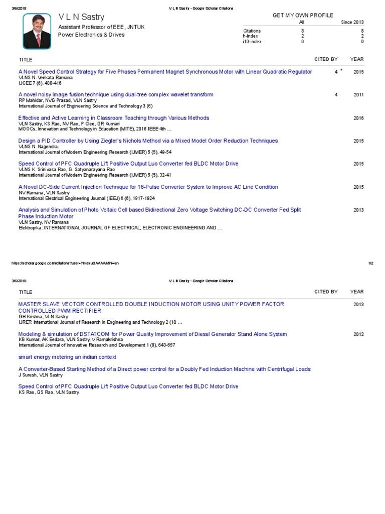 V L N Sastry - Google Scholar Citations | Power Electronics