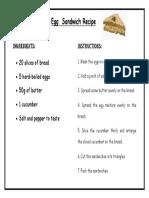 Egg Sandwich Recipe Reading Text