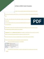 Excel Vb Sample Codes