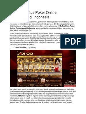 10 Daftar Situs Poker Online Terpercaya Di Indonesia
