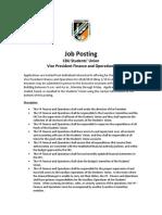 Job Posting- VP F&O 2018-19