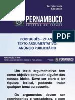 Texto Argumentativo Anúncio Publicitário.