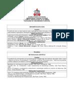 Ementa Disciplinas Engenharia Florestal