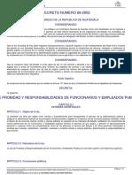 Decreto Del Congreso 89-2002 Ley de Probidad y Responsabilidades...