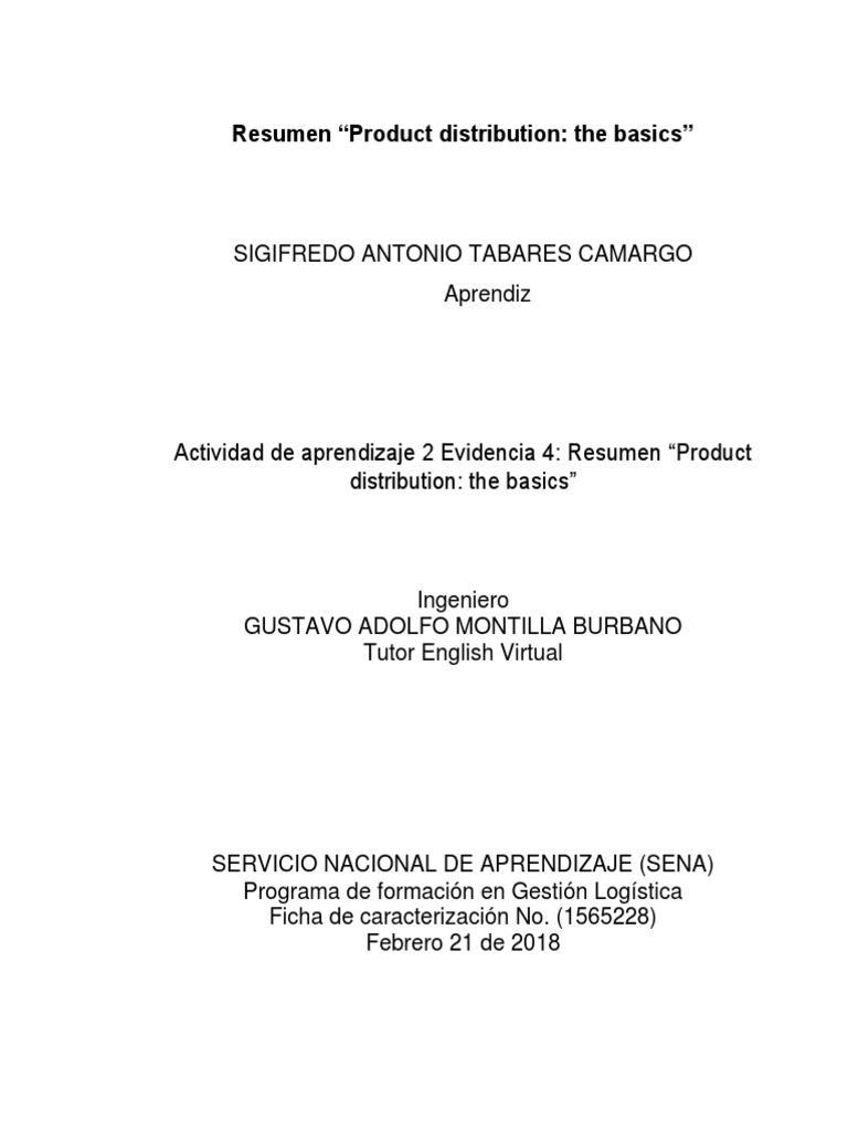 evidencia 4 resumen product distribution the basics transport