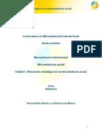 Unidad 3. Planeacion Estrategica en La Mercadotecnia Social