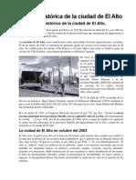 Reseña Histórica de La Ciudad de El Alto