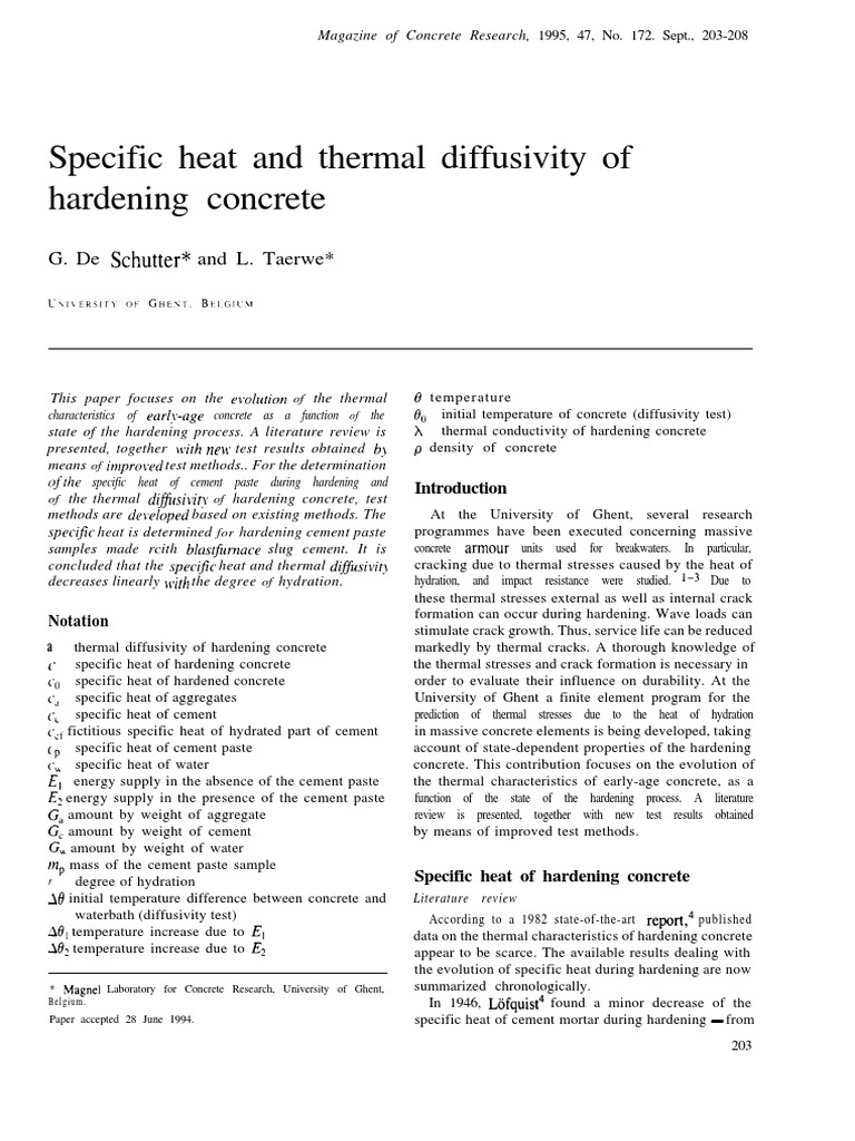 Specific Heat and Thermal Diffusivity of Hardening Concrete   Heat