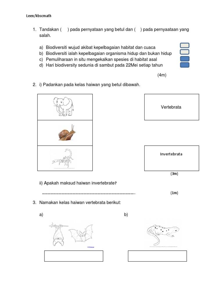 Soalan Sains Kssm Form 2