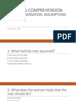 LISTENING COMPREHENSION Short Conversation About Assumptions