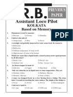 RRB Kolkata ALP Previous Year Paper