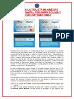 Tarjeta de Crédito Virtual PayPal PRE PAGO Bolivia
