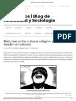 Relación Entre Cultura, Religión y Fundamentalismo