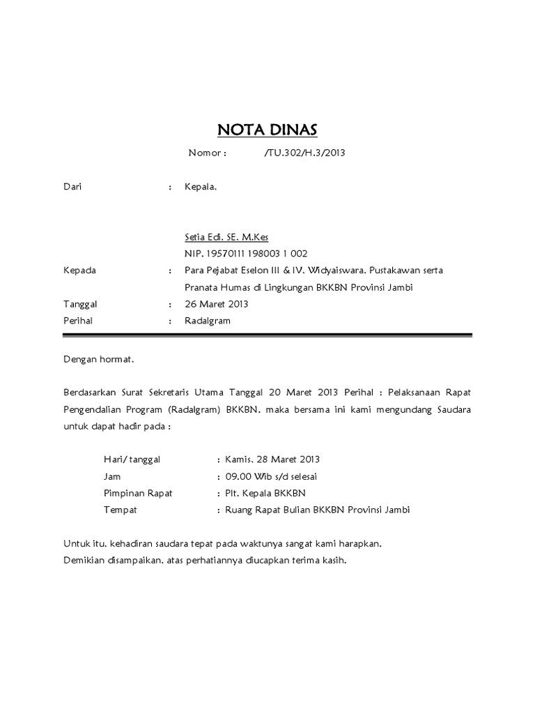 Nota Dinas Radalgram