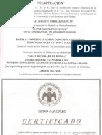 Felicitaciones Al Soberano Gran Comendador y Gran Maestre de la Orden SCM de México