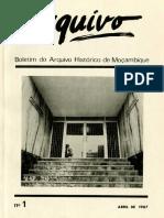 Boletim Do Arquivo Histórico de Moçambique Nº1 - Abril de 1987