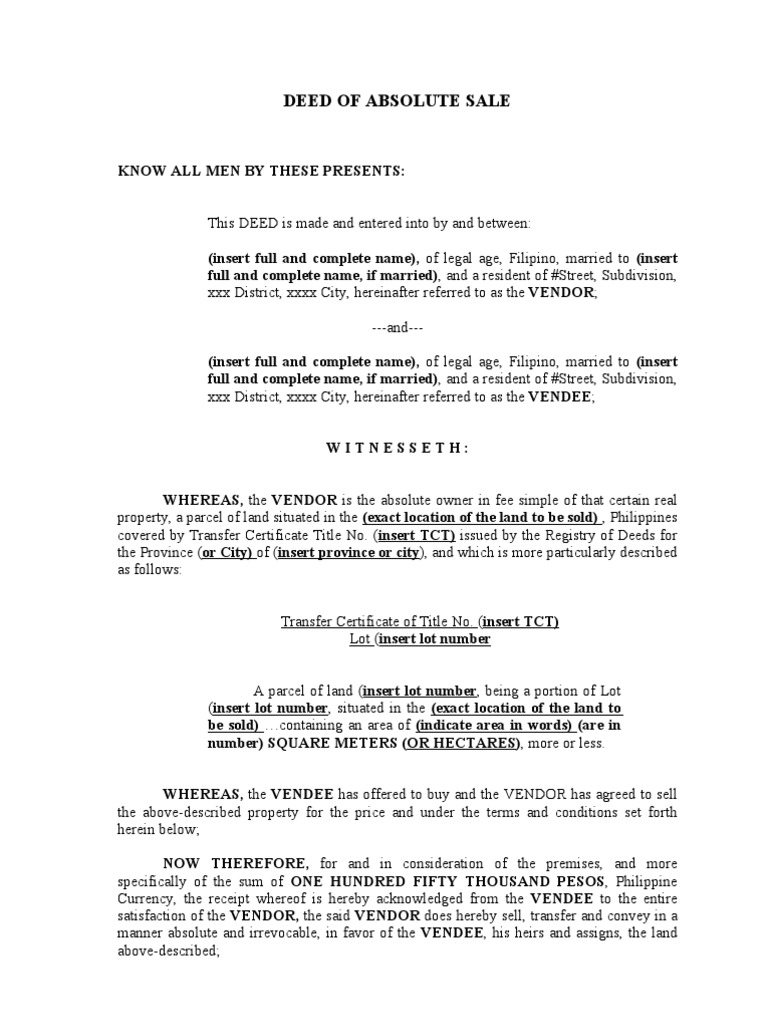 deed of ownership template