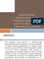Behaviour Rule Specifications Based intrusion detection for safety critical medical physical systems