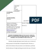 Joseph Hopper Motion to Dismiss Re