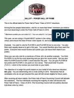 2010 Poker Hall of Fame Official Ballot