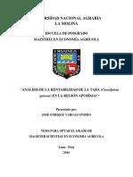 Analisis de La Rentabilidad de Tara en La Region Apurimac