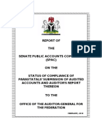 REPORT OF SENATE PUBLIC ACCOUNTS COMMITTEE (SPAC) ON THE 'STATUS OF COMPLIANCE OF PARASTATALS' SUBMISSION OF AUDITED ACCOUNTS AND AUDITOR'S REPORT THEREON TO THE OFFICE OF THE AUDITOR-GENERAL FOR THE FEDERATION'