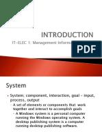 MIS 1 - Introduction