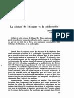 La science de l'homme et la philosophie