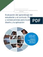 Evaluación del aprendizaje del estudiante y el currículo