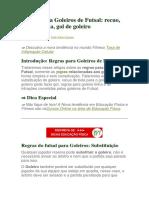 Regras Para Goleiros de Futsal